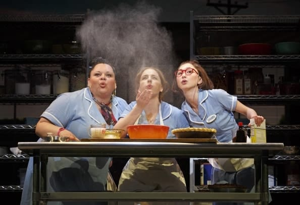 (l-r) Keala Settle (Becky), Jessie Mueller (Jenna), and Kimiko Glenn (Dawn) in Waitress, on Broadway  (Photo © Joan Marcus)
