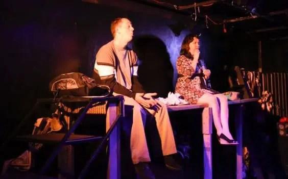 Jay Hardee and Amy Belschner Rhodes and Deborah Randall in Garbage Kids at Venus Theatre (Photo: Curtis Jordan)