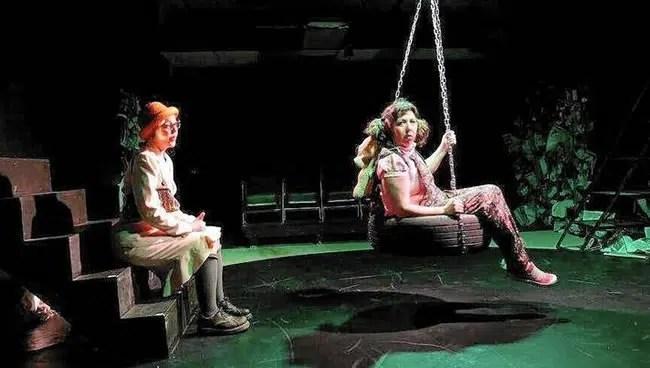 Amy Belschner Rhodes and Deborah Randall in Garbage Kids at Venus Theatre (Photo: Curtis Jordan)