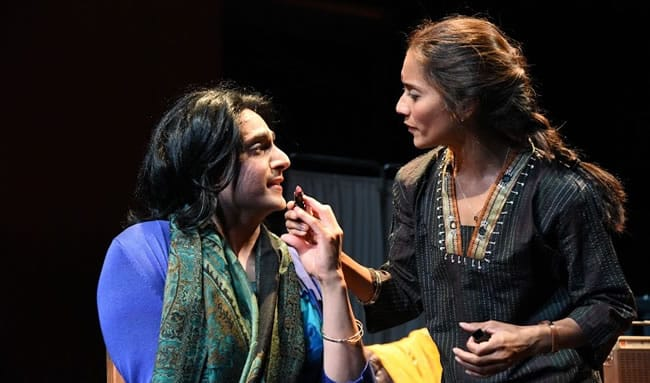 Shravan Amin as Indira and Lynette Rathnam as Nirmala  in When January Feels Like Summer from Mosaic Theater Company of DC. (Photo by Stan Barouh)