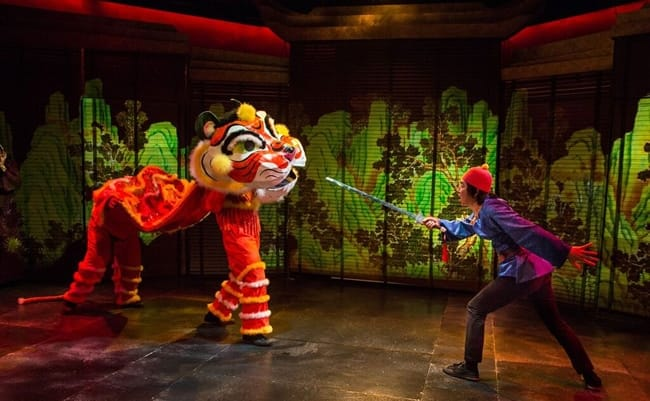 Andrew Quilpa as The Tiger Tail, Jonathon Frye as Prince Bao in The Emperor's Nightingale at Adventure Theatre MTC (Photo: Michael Horan)