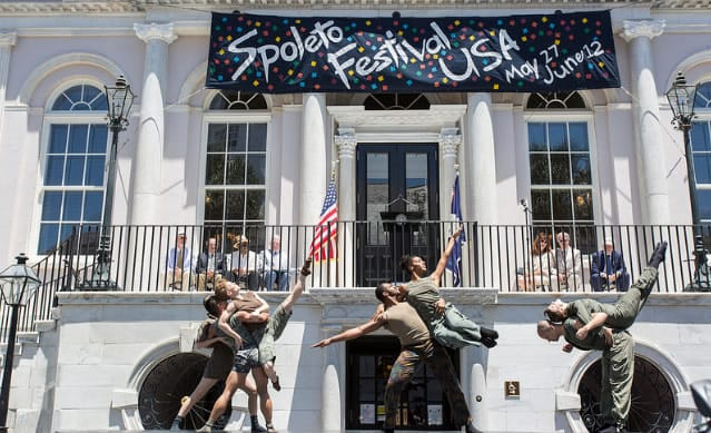 Dancers from Bill T. Jones/Arnie Zane Company perform at the opening ceremony of Spoleto Festival USA 2016 in front of the City Hall, Charleston, SC. (Photo: Julia Lynn Photography)