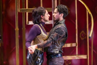 Maulik Pancholy as Katherina and Peter Gadiot as Petruchio in STC's The Taming of the Shrew (Photo: Scott Suchman)