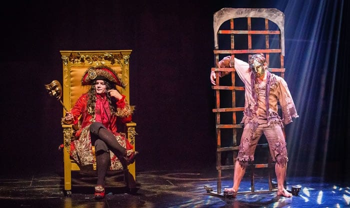 Alex Mills as King Louis (left) and Phillippe (right) in The Man in the Iron Mask from Synetic Theater (Photo: Johnny Shryock)