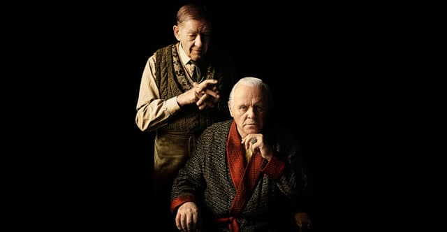 Ian McKellen as Norman and Anthony Hopkins as Sir in the BBC Two TV movie The Dresser, now on Starz