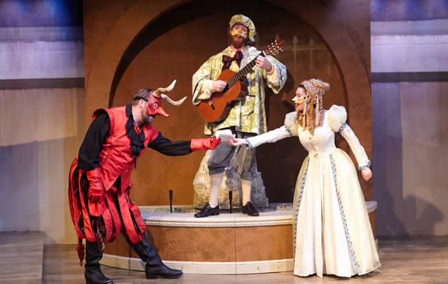 (From left:) Doug Wilder, Matthew Aldwin McGee and Natalie Cutcher in The Good Devil (in Spite of Himself) from WSC Avant Bard (Photo: C. Stanley Photography)