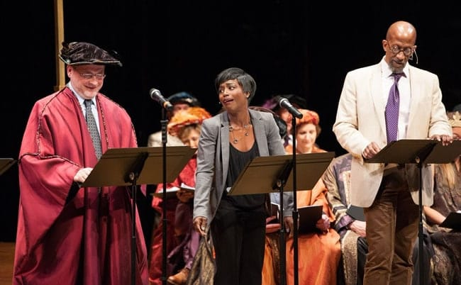 (l-r) Grover Norquist, Felicia Curry, and Reg E. Cathey in Heavy Lies the Head produced by Will on the Hill (Photo: Margot Schulman)