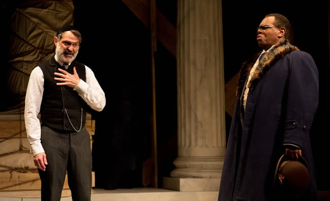 Matthew Boston as Shylock as Craig Wallace as Antoine DuPre in District Merchants at Folger Theatre (Photo: Teresa Wood)