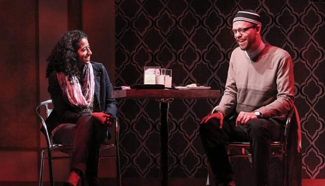 Anu Yadav (Zarina) and Brandon McCoy (Eli) in The Who & The What at Round House Theatre. (Photo: Cheyenne Michaels)