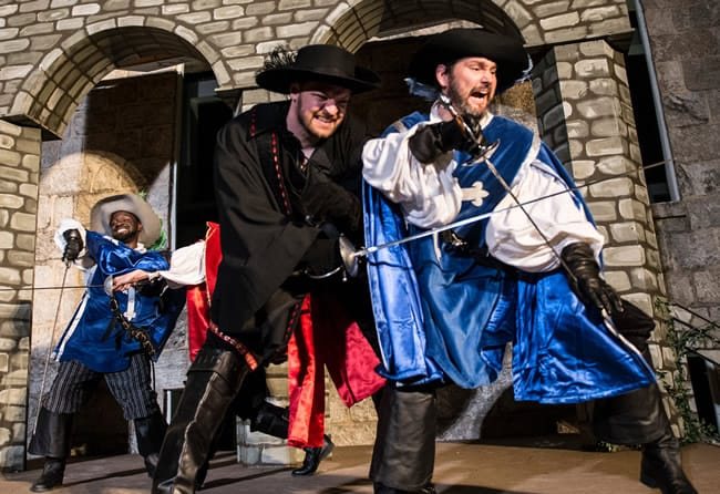 The swashbuckling King's Musketeers: (l-r) Gerrad Alex Taylor, Kevin Alan Brown and Daniel Flint in The Three Musketeers (Photo: Teresa Castracane)