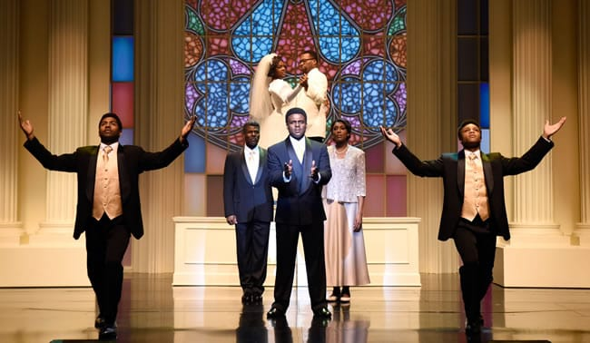 Juan Winans as BeBe (center) and cast members of Born for This: The BeBe Winans Story at Arena Stage at the Mead Center for American Theater. (Photo: Greg Mooney, courtesy Alliance Theatre)