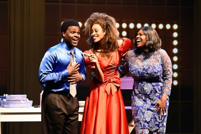 (l-r) Juan Winans as BeBe, Kiandra Richardson as Whitney Houston and Deborah Joy Winans as CeCe in Born for This: The BeBe Winans Story at Arena Stage at the Mead Center for American Theater. (Photo: Greg Mooney, courtesy Alliance Theatre)