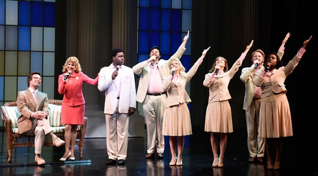 (l-r) Chaz Pofal, Kirsten Wyatt, Juan Winans and the ensemble of Born for This: The BeBe Winans Story at Arena Stage at the Mead Center for American Theater. (Photo: Greg Mooney, courtesy Alliance Theatre)