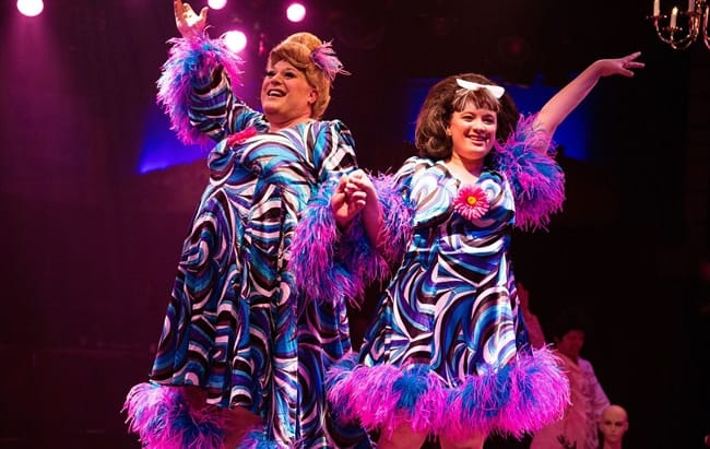 Lawrence B. Munsey as Edna Turnblad and Christie Graham as Tracy Turnblad in Hairspray at Toby's Dinner Theatre (Photo: Jeri Tidwell Photography)