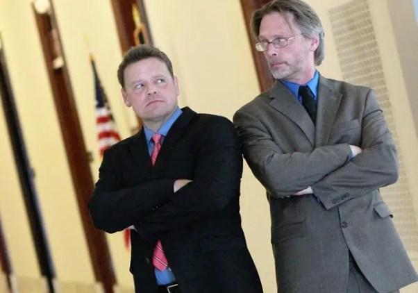 Scott Cummings as Sen. Bridges and Terry Loveman as Sen. Hunt in HUNT at Capital Fringe
