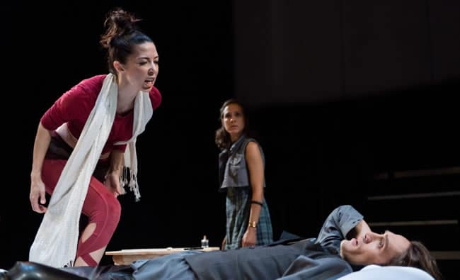 Joey Parsons, Rachael Balcanoff, and Ben Chase in Not Medea at Contemporary American Theater Festival (Photo: Seth Freeman)