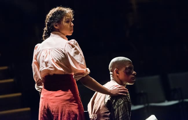 Margaret Ivey and Damian Thompson in pen/man/ship at Contemporary American Theater Festival (Photo: Seth Freeman)