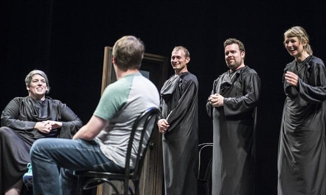 (l-r) Shannon O'Neill, an audience member, Brandon Scott Jones, Connor Ratliff, and Molly Thomas in We Know How You Die at Woolly Mammoth Theatre (Photo: Teresa Castracane)