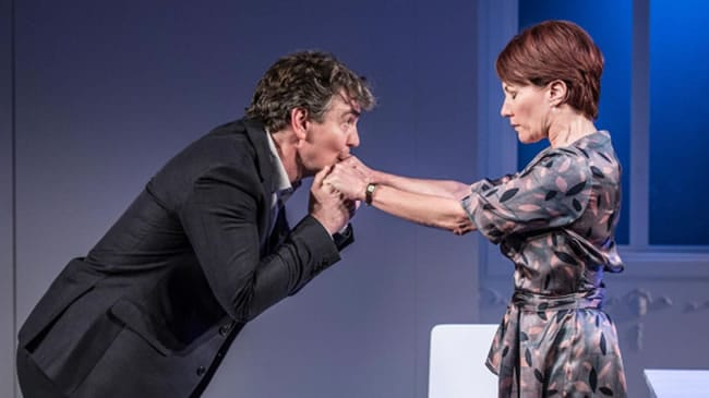 Alexander Hanson as Michel Tanya Franks as Laurence in The Truth at Menier Chocolate Factory Theatre