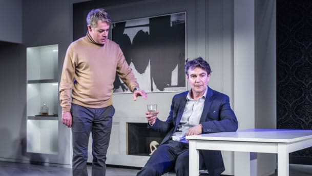 Robert Portal and Alexander Hanson in The Truth at Menier Chocolate Factory