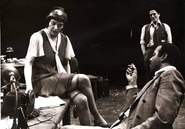 The Front Page, Arena Stage, 1976: (l-r) Halo Wines, Stanley Anderson, Wendell W. Wright, Jr. (Photo: George de Vincent.)