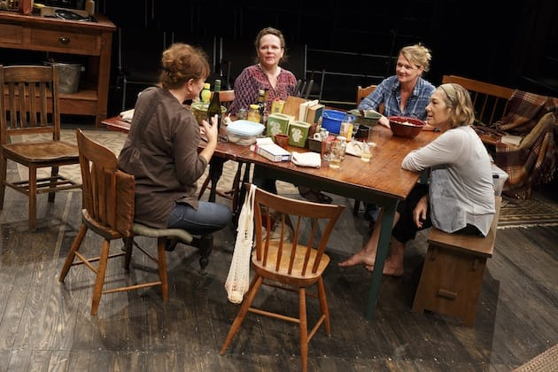 Amy Warren, Maryann Plunkett, Lynn Hawley, and Meg Gibson in What Did You Expect?, Play Two of The Gabriels: Election Year in the Life of One Family. Photograph by Joan Marcus