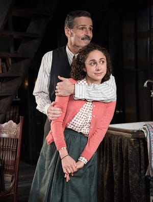 Carolyn Faye Kramer as Anne Frank and Paul Morella as Otto Frank in Olney Theatre Center's production of The Diary of Anne Frank (Photo: Stan Barouh)