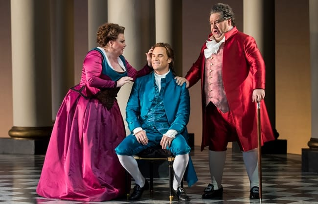 Elizabeth Bishop as Marcellina, Ryan McKinny as Figaro, and Valeriano Lanchas as Dr. Bartolo in The Marriage of Figaro by Washington National Opera.. (Photo by Scott Suchman)