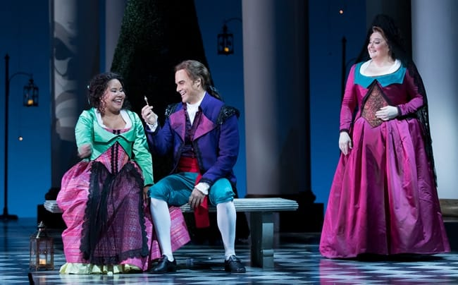 Ariana Wehr as Barbarina, Ryan McKinny as Figaro, and Elizabeth Bishop as Marcellina in The Marriage of Figaro by Washington National Opera.. (Photo by Scott Suchman)