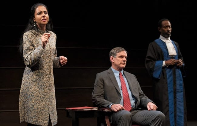 Mahira Kakkar, Michael Rogers, Tony Carlin in The Trial of an American President (Photo: Ken Nahoum)