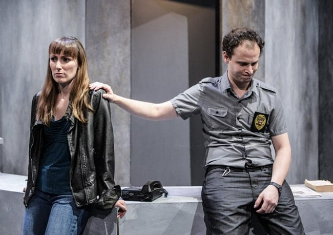 "(l to r) Laura Artesi and Aaron Bliden in ""Lobby Hero"" at 1st Stage. (Photo: Teresa Castracane)"