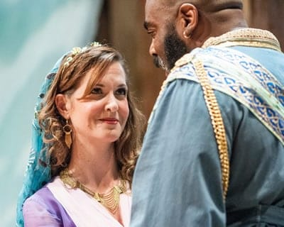 Diane Curley as Desdemona and Jason B. McIntosh as Othello in Othello at Chesapeake Shakespeare (Photo: Teresa Castracane)