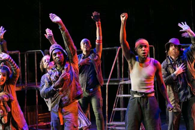 (l-r) Jenna Berk, Amy McWilliams, Carl Williams, Patrick Murphy Doneghy, Vaughn Ryan Midder, Matthew Aldwin McGee in Constellation Theatre's Urinetown: The Musical (Photo: Daniel Schwartz)