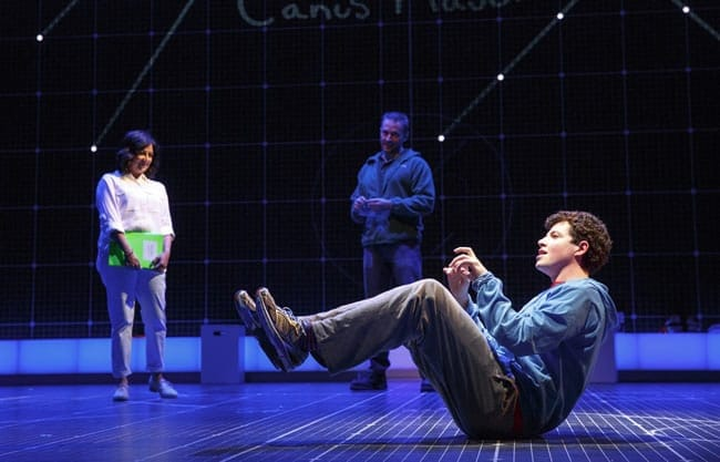 Adam Langdon, (foreground,) with Maria Elena Ramirez and Gene Gillette in the touring production of The Curious Incident of the Dog in the Night-Time (Photo: Joan Marcus)