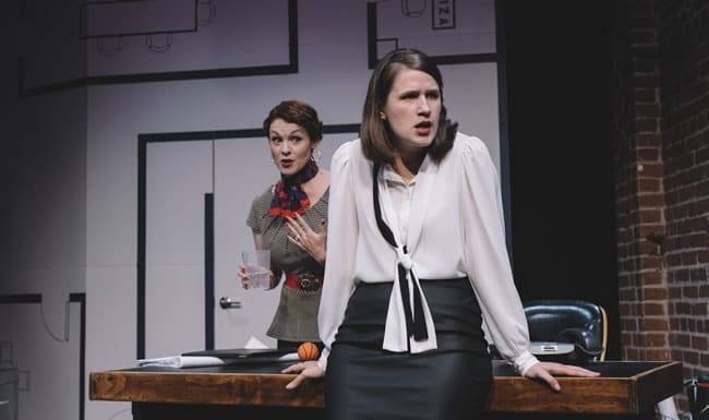 Carolyn Kashner as ___ and _____ in What We're Up Against at Keegan Theatre (Photo: Cameron Whitman Photography)