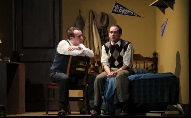 "(l to r) Scott Ward Abernethy and Noah Schaefer in ""Broadway Bound"" at 1st Stage. (Photo: Doug Wilder)"