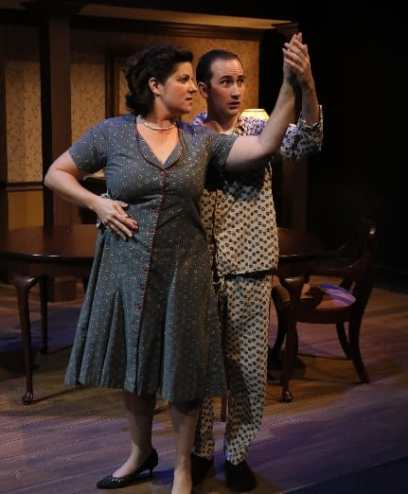 "Teresa Castracane and Noah Schaefer in ""Broadway Bound"" at 1st Stage. (Photo: Doug Wilder)"