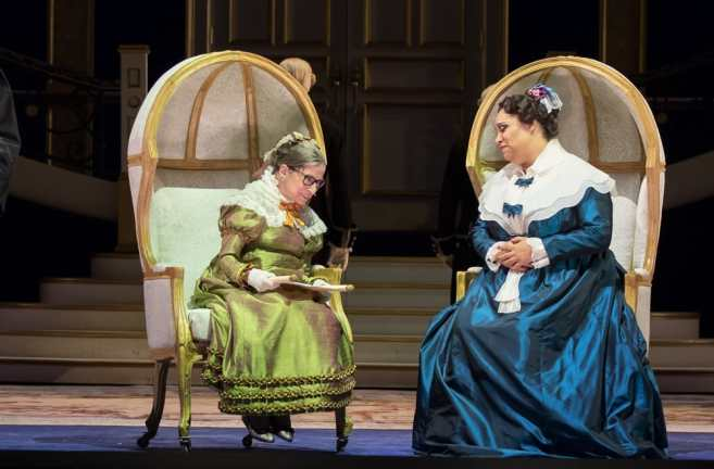 Ruth Bader Ginsburg as the Duchess of Krakenthorp, and Deborah Nansteel as the Marquise of Berkenfield in Daughter of the Regiment from Washington National Opera (Photo: Scott Suchman)