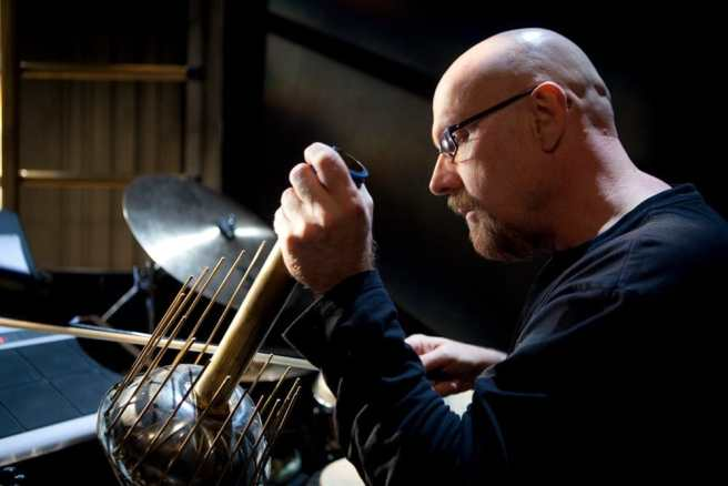 Percussionist Tom Teasley accompanying silent film Metropolis (Photo: Daniel Schwartz)