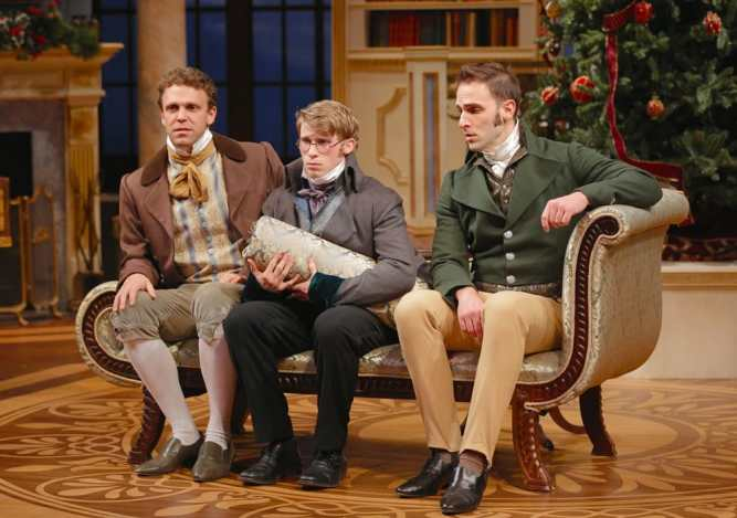 (l-r) Brandon McCoy (Charles Bingley), William Vaughan (Arthur de Bourgh), and Danny Gavigan (Fitzwilliam Darcy) in Round House Theatre's Miss Bennet: Christmas at Pemberley. (Photo: Grace Toulotte)