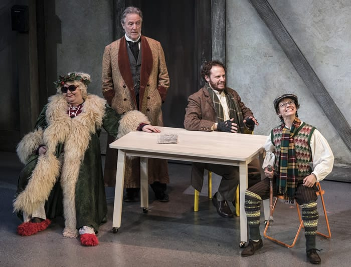 (l-r) Jaime Moyer, John Lescault, Aaron Bliden and Tia Shearer in The Second City's Twist Your Dickens at The Kennedy Center (Photo: Teresa Castracane)