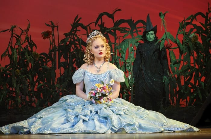 Amanda Jane Cooper as Glinda and Jessica Vosk as Elphaba B. in the National Tour of Wicked at The Kennedy Center (Photo: Joan Marcus)