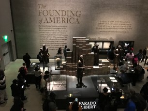 Looking down from the middle underground level toward the Paradox of Liberty exhibit.