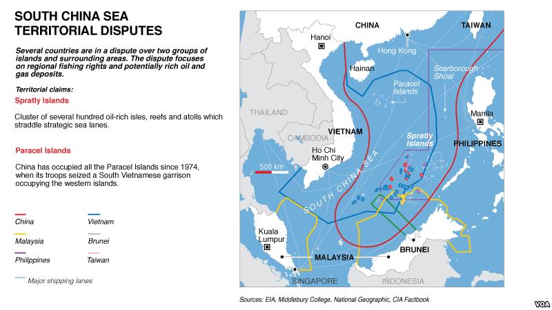 Bản đồ biển do TQ tự vẽ gây tranh chấp lãnh thổ ở vùng biển Đông Nam Á. Nguồn VOA