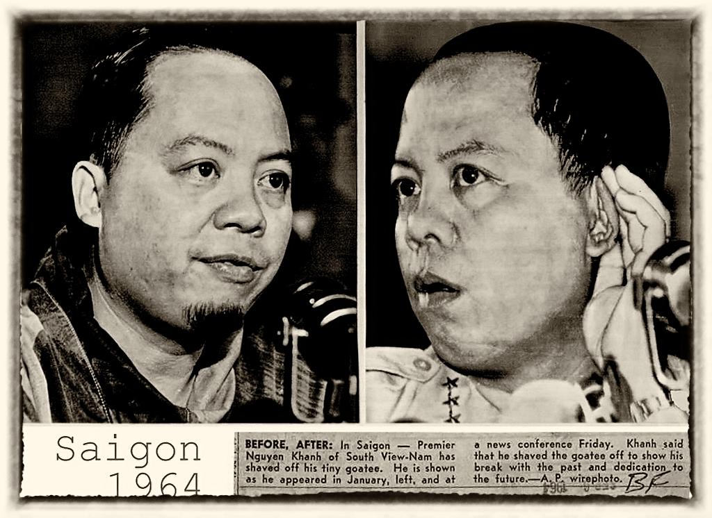 Trung tướng Nguyễn Khánh, tháng Gieng 1964 (T), tháng 9, 1964 (P) cạo chòm râu dê - dưt bỏ quá khứ công hiến cho tương lai. Hình AP