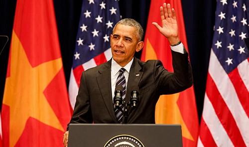 Barack Obam ataji Hội trowfng Mỹ Đình, Hà Nội (24/5/2016). Nguồn: Tuoitre News