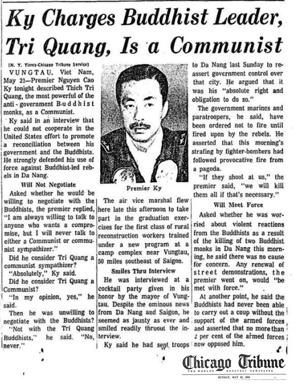 Nguyễn Cao Kỳ nói Trí Quang là cộng sản. Nguồn Chicago Tribune, 22 tháng 5, 1966.