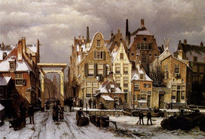 a Dutch city in winter, by Johannes Klinkenberg, 1852_1924