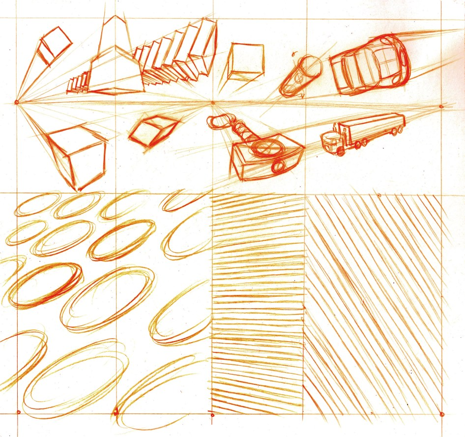 Up top, some sketching of forms and common objects in two or three point perspective. Down below pattern work meant to help develop your hand eye coordination in seeing/feeling the angels and proportions.
