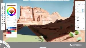 Autodesk Sketchbook Virtual Plein Air Painting Demo Clip.